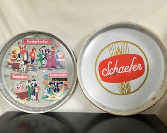 Set of 2 Vintage Metal Beer Trays - Vintage Beer Advertising - Knickerbocker & Schaefer