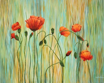 Red Poppies on Abstract Green