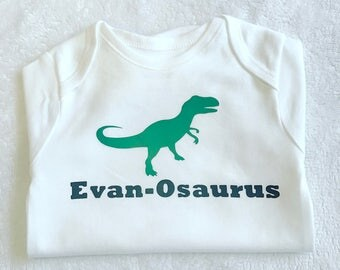 New Baby girl boy personalised name print dinosaur vest top tshirt bodysuit clothing 0 to 2 years matching