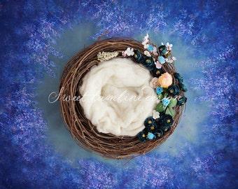 Newborn photography Digital Backdrop - Blue Flower Nest - 2 versions
