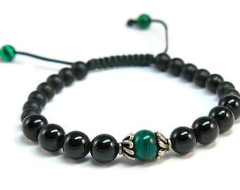 Sobre ***  Onyx & Malachite Boho Style Unisex Pull - Tie Bracelet