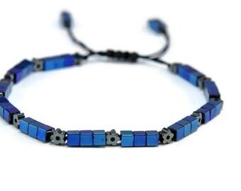 Iris * Hematite, Electric Blue, Boho Style Pull - Tie Bracelet