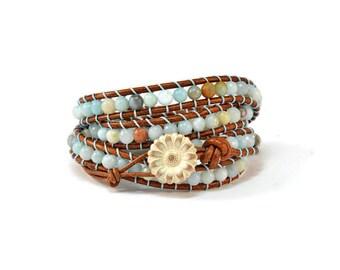 Boho Toskana * Amazonite. 4 strand Nugget Bracelet. Boho Style. Bohemian Jewelry. Semiprecious stones. Gift for her. Cuff Bracelet.