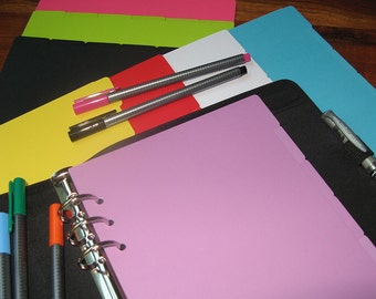A5 Size Planner Dividers for Filofax, Kikki K, Debden, etc. Multiple Colours to Mix and Match