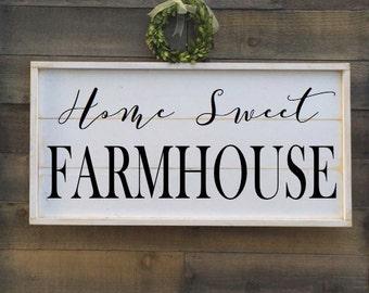 home sweet farmhouse, vintage wood sign