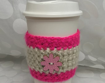 Fun Coffee Cozy pink & cream with button flower