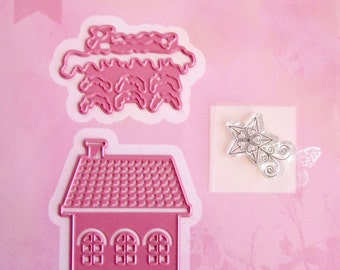 Cutting stencil Kit and buffer clear - snowy House and Star