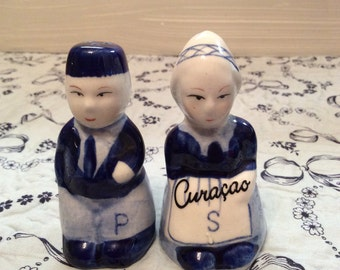 Vintage Delft Salt And Pepper Shakers ~ Souvenir Curacoa ~ Blue and White Salt and Pepper Shakers ~ Holland Delftware