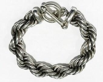 Sterling Silver Rope Toggle Bracelet