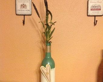 Decorative Wine Bottle - Wood/Burlap Heart