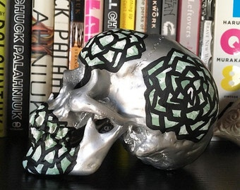 Colorful Hand-Painted Skull Decor