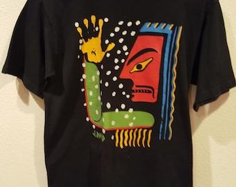 Vintage Native American Designed Black Cotton Tshirt Size Medium FREE SHIPPING