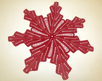 Red crochet doily, snowflake doily, 18 inches