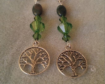 The Family Tree Lever backs with Green beads