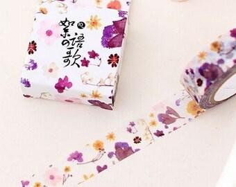 Washi Tape, Masking Tape, tape adhesive scrapbooking FLOWER PURPLE