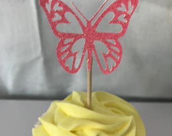 24 count Glitter cut-out butterfly, cupcake toppers, Birthday party, wedding, Bridal Shower, Baby shower, its a girl, celebrations