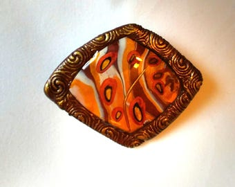 Brooch, beige, gold, polymer clay, resin, jelwery fashion