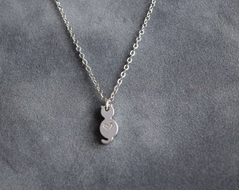 Initial necklace, silver Little cat gold necklace,  cat charm necklace, bridesmaid gift, gift necklace, silver kitty charm