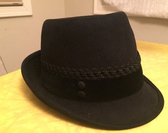 Vintage Black Felt Fedora Hat Cap with Braided Cord and Button Detail