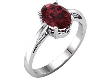 Natural Garnet Ring Gold / 14K White Gold Garnet Ring