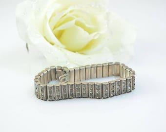Catamore Art Deco Crystal Rhinestone Bracelet Sterling Silver 25.5g