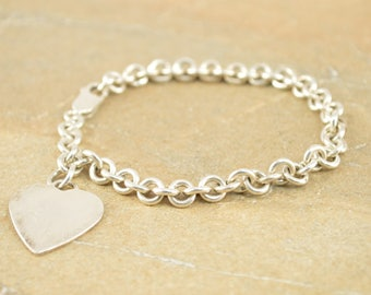 Cable Link Heart Charm Bracelet Sterling Silver 18.4g
