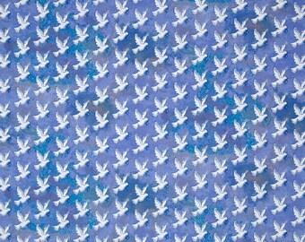 Windham Fabric Faith Doves Blue Religious Cotton Fabric - 1 Yard