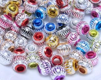 30 Pcs. Big Whole Beads, Acrylic Colored Beads, Metallic and Silver Beads, Wholesale Bead, Jewelry making Beads, Diy Jewelry making Supplies