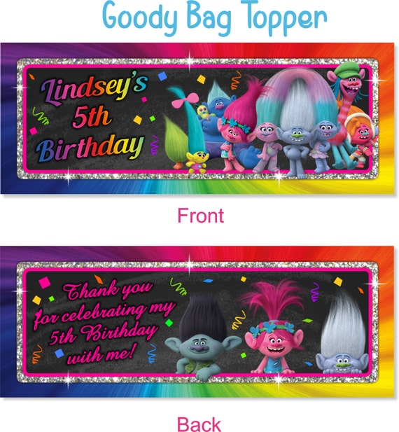 Trolls Personalized Goody Bag Toppers