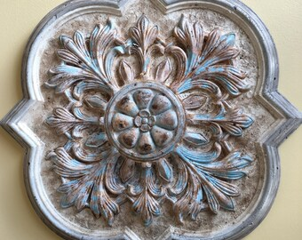 """Hand-painted ceiling or wall medallion 20"""" diameter   ***SHIPS FREE to US lower 48 States***"""