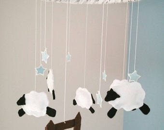 Sheep nursery mobile, stars, counting sheep, nursery decor, for baby, black white, light blue accent, fence detail, cute, classic, modern