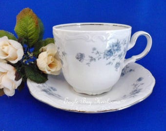 Teacup & Saucer: Johann Haviland Bavaria Germany Fine China Blue Garland