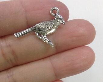 10pcs Cardinal Charm, Bird charm, Cardinal Bird Charm, Nature Charm, Animal Charm