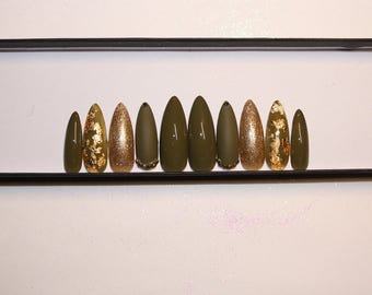 Army Green and gold press on nails