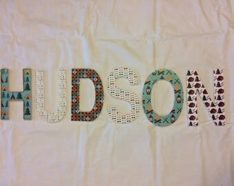 Boys name in wood letters with a Camping Outdoor theme.  Nursery wall hanging. Kids room decor