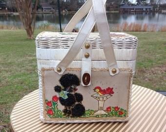 Vintage Midas of Miami White Wicker Poodle  Handbag / Purse 1950's 60's