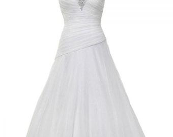 Wedding Dress/A-Line Sweetheart Pleated Long Train Wedding Dress/ Crystal Bridal Dress