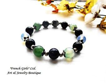 Jade Nephrite Sandstone Agate Moonstone Opalite Gemstone Beaded Bracelet Chakra Yoga Meditation Zen Jewelry Healing Crystal Stone Blue Green