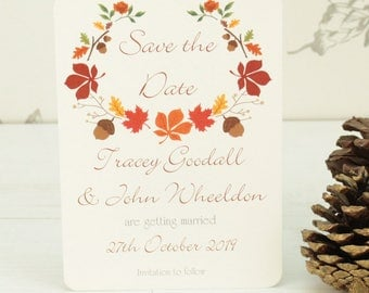 Personalised Autumn Leaves Wedding Save the Date Card