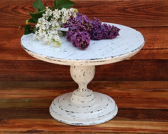 """12"""" Cake Stand,Rustic white cake stand,Wedding cake stand,White cupcake stand,Wedding white pedestal,White Wooden Dessert stand"""