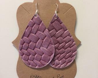 Mauve Basket-weave Leather Statement Earrings