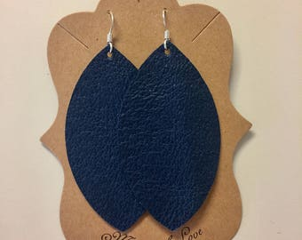 Navy Leather Statement Earrings
