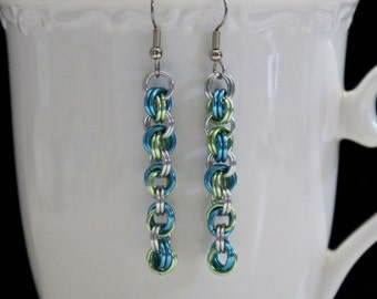 Chainmaille Earrings, Infinity Link Long Spiral Dangles, Blue and Green, Chainmaille Jewelry