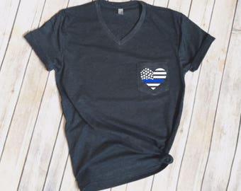 Thin Blue Line Heart Flag V-Neck Pocket Tee - Police Wife - Law Enforcement