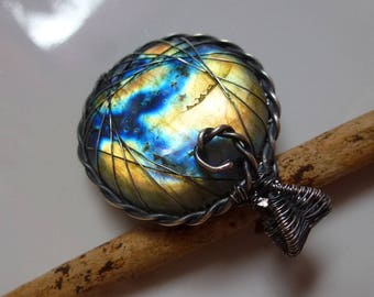 Trailers with 39mm flower of life, Labradorite, counterpart labradorite seed of life - wire wrapped Sterling Silver Blue