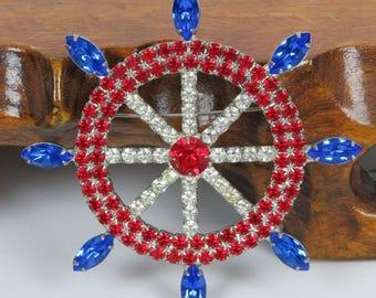 Vintage Dorothy Bauer Sailing Ship's Wheel Brooch Pin