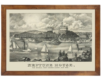 Neptune House, New Rochelle NY, 1842; 24x36 inch print reproduced from a vintage painting or lithograph