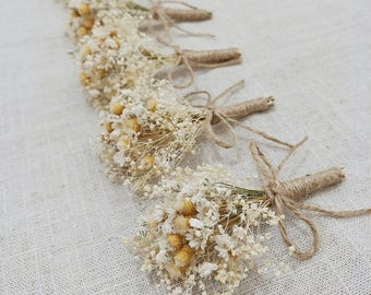 Rustic Wedding Boutonniere,Baby's Breath Boutonniere,Dried Flower Burlap Groom Lapel Pin,Rustic Groom Corsage,Ivory and Tan Boutonniere。