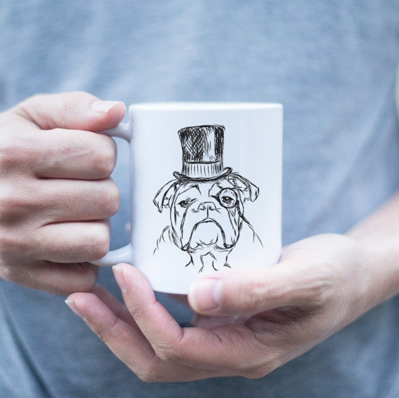 Sophisticated English Bulldog Mug - English Bulldog Gift, Funny Gift, Cute Holiday Gift, Dog Lover Gift, Gifts for Him, Husband Gift