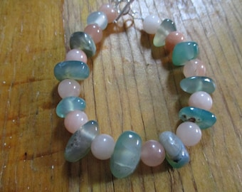 Agates Adventurine Natural Stones Gems Beach Moss Agates and Adventurine Bracelet